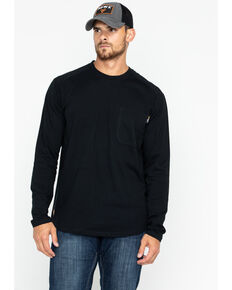 Hawx® Men's Logo Crew Long Sleeve Work T-Shirt - Tall , Black, hi-res