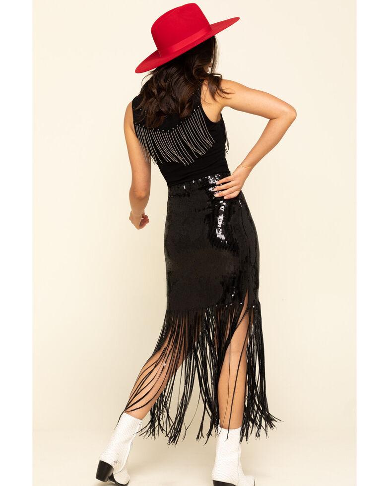 Chrysanthemum Women's Fringe Sequin Skirt, Black, hi-res