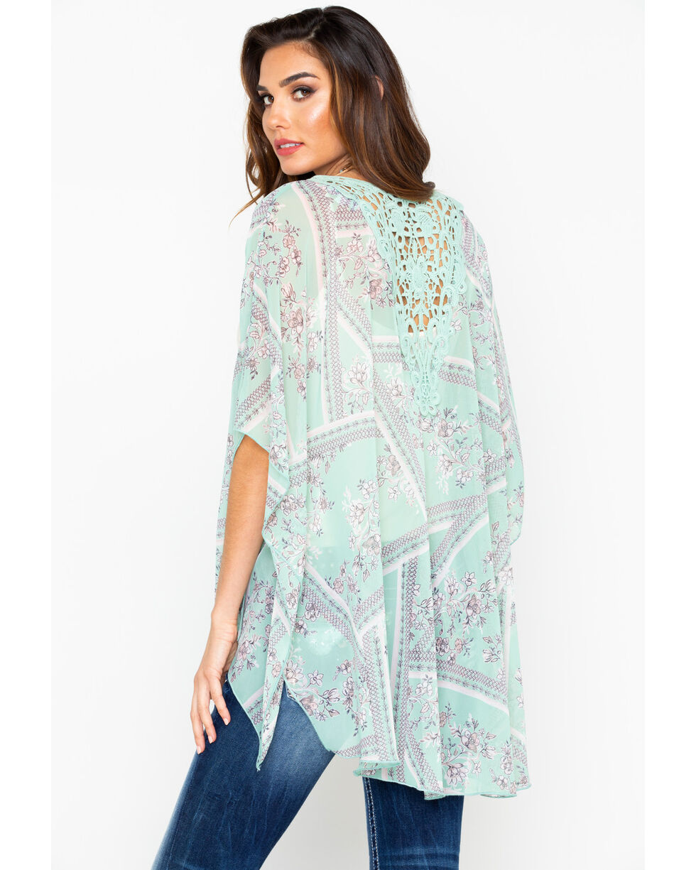 Panhandle Women's Blue Floral Print Lace Back Inset Kimono , Light Blue, hi-res