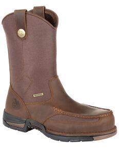 Georgia Boot Men's Athens Waterproof Western Work Boots - Moc Toe, Brown, hi-res