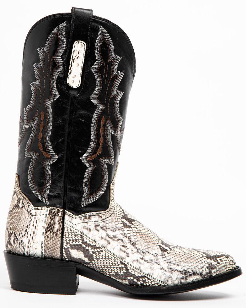 Dan Post Men's Natural Python Cowboy Boots - Round Toe, Black, hi-res