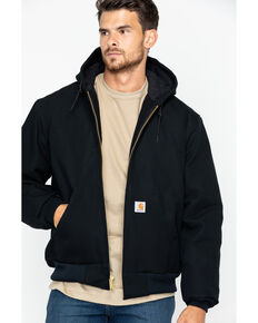 Carhartt Men's Duck Active Zip Front Work Jacket, Black, hi-res