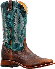 Boulet Men's Brown/Turquoise Stockman Cowboy Boots - Square Toe, Brown, hi-res
