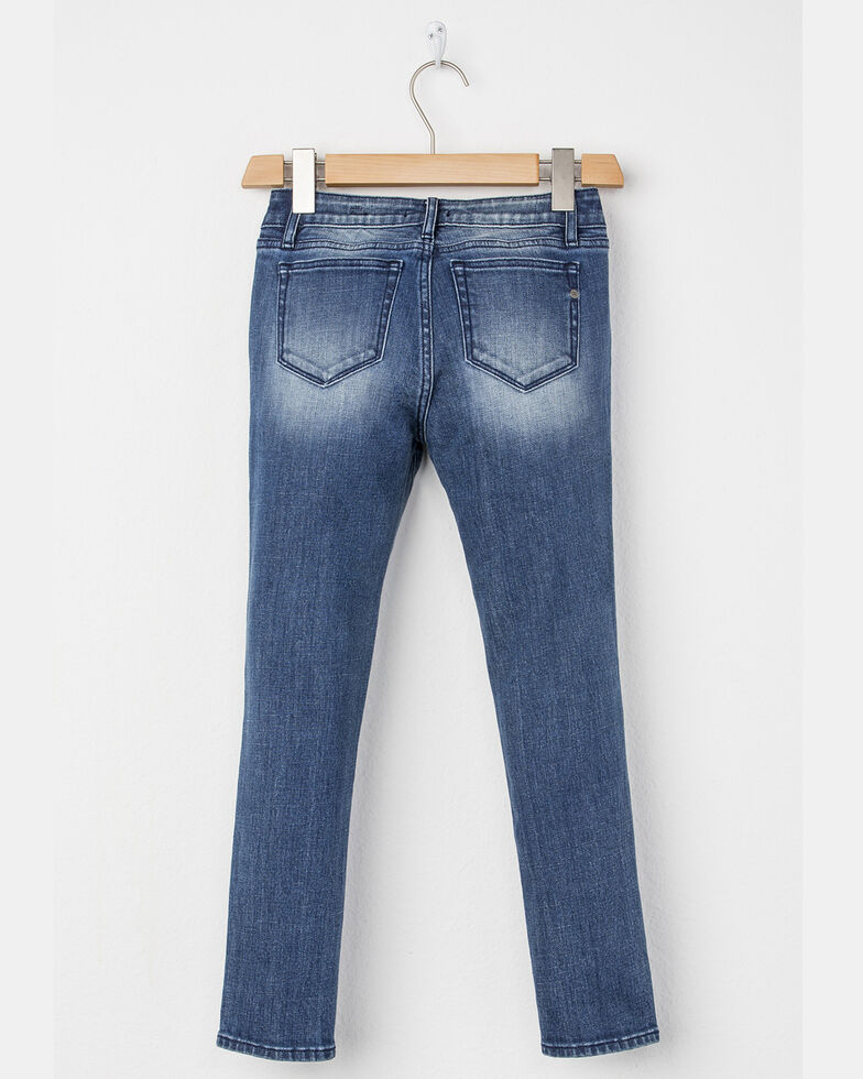 Miss Me Girls' Distressed To Impressed Ankle Skinny Jeans, Indigo, hi-res