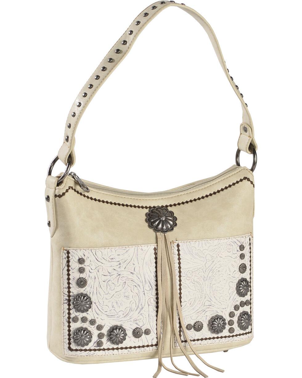 Montana West Women's Beige Concealed Carry Tooled Floral Hobo Bag , Beige/khaki, hi-res