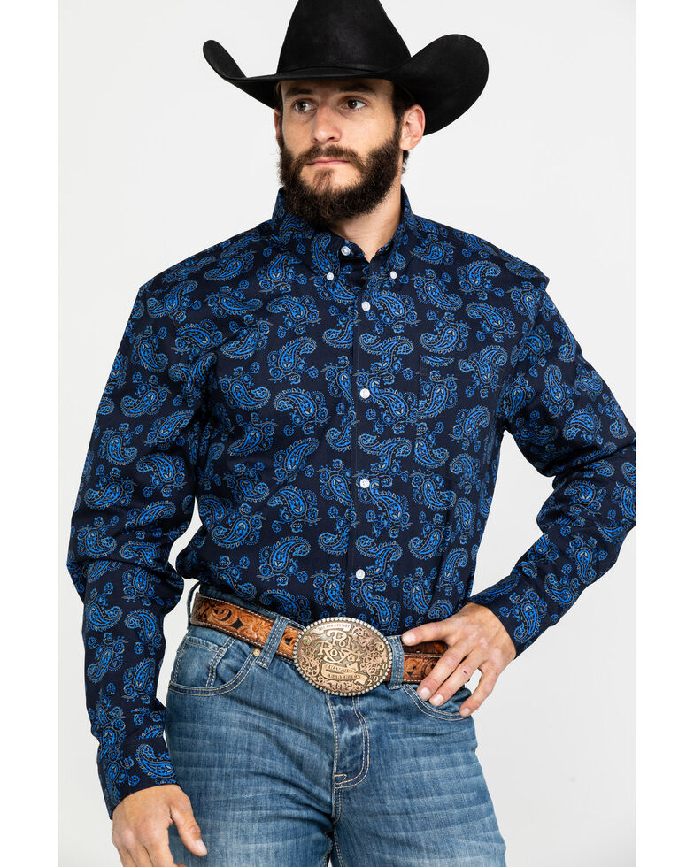 Cody James Core Men's Plateau Paisley Print Long Sleeve Western Shirt , Black/blue, hi-res