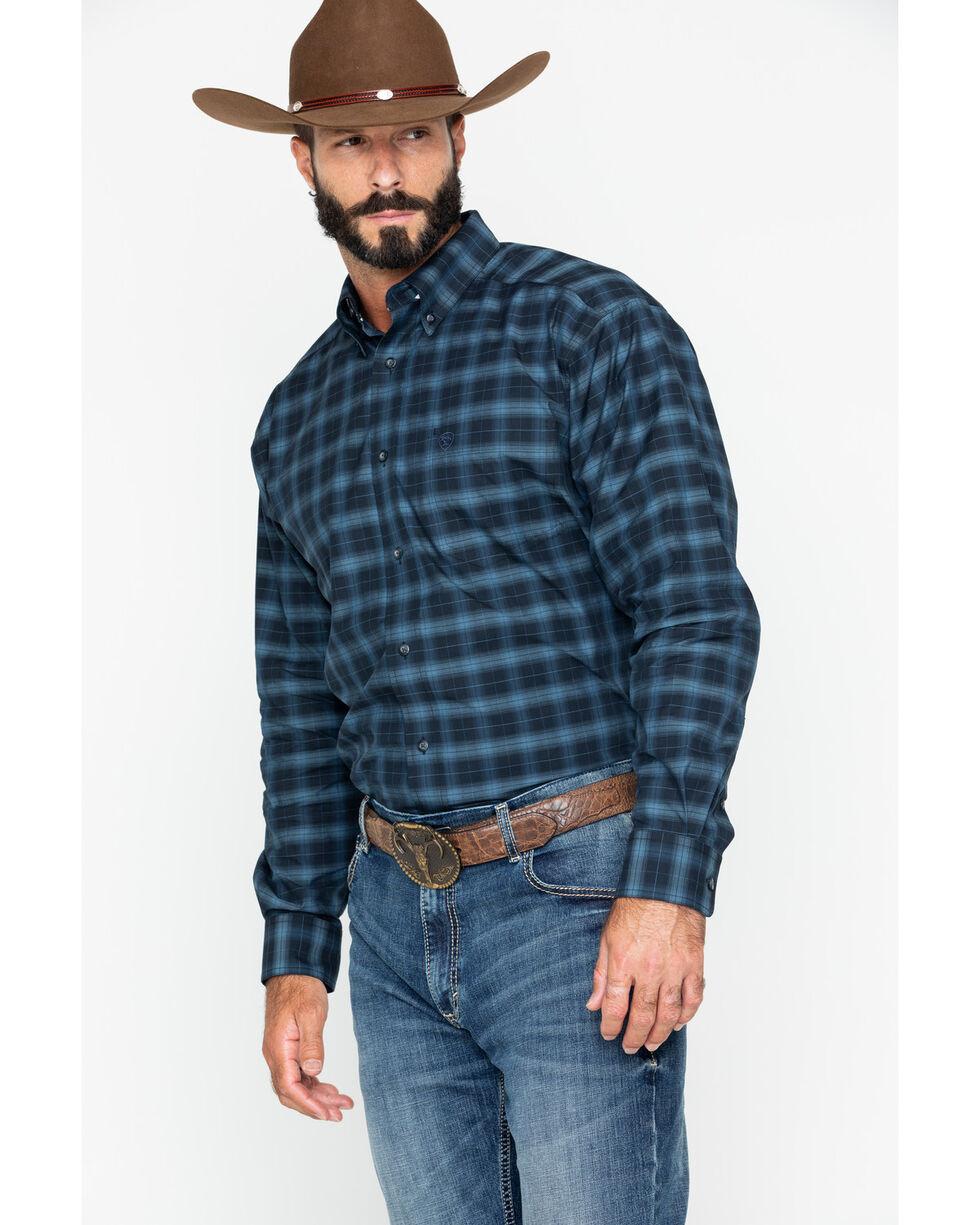 Ariat Men's Calderas Medium Plaid Long Sleeve Western Shirt - Tall , Black, hi-res