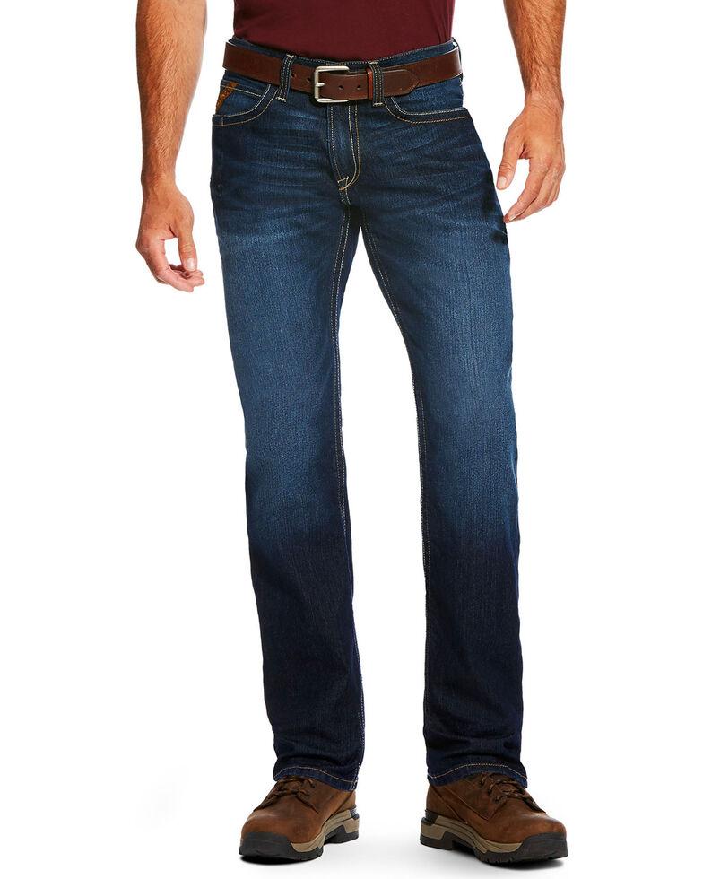 Ariat Men's Rebar M4 Edge Low Rise Maritime Wash Bootcut Jeans, Blue, hi-res