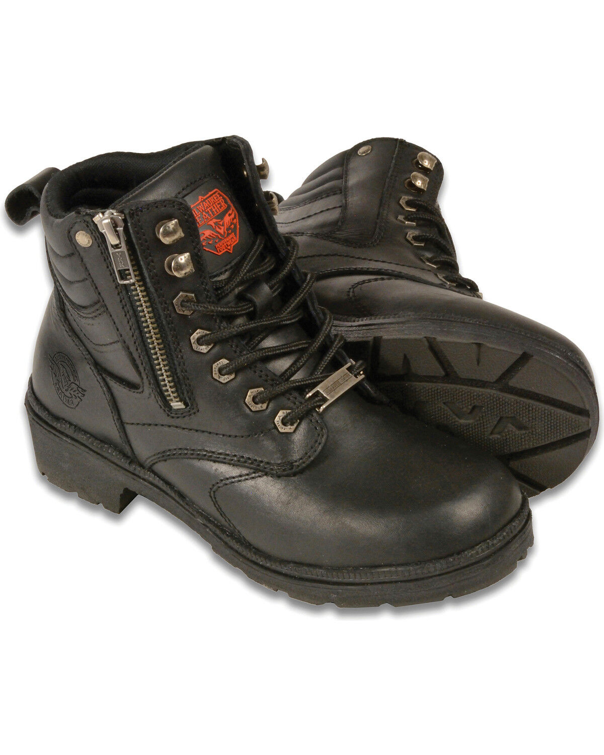 Milwaukee Leather Womens Harness Square Toe Leather Boots with Full Lining Black, Size 11W//14 Wide