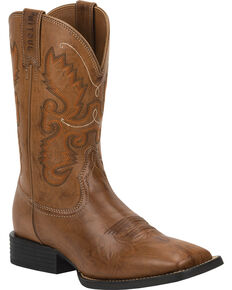 Justin Men's Farm & Ranch Western Boots, Wood, hi-res