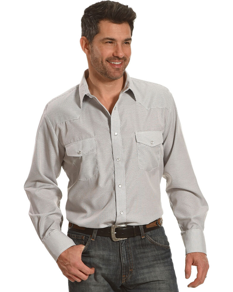 Roper Men's White Geo Print Long Sleeve Western Shirt , White, hi-res
