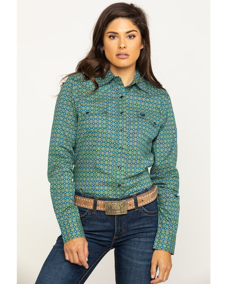 Cinch Women's Green Geo Snap Long Sleeve Shirt , Green, hi-res