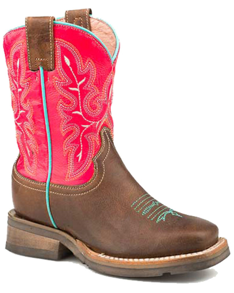 Roper Boys' Brown Oiled Western Boots - Square Toe, Brown, hi-res