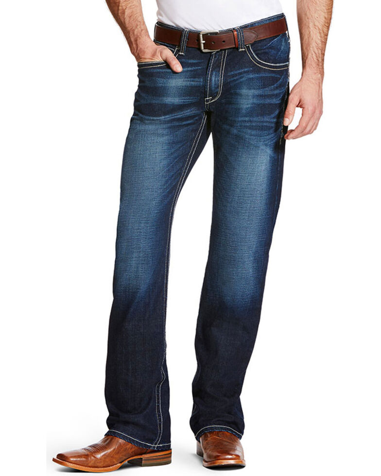 Ariat Men's M4 Adkins Turnout Boot Cut Jeans, Blue, hi-res