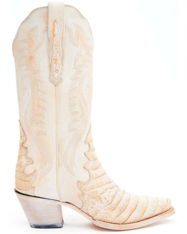 Dan Post Women's Peach Caiman Print Western Boots - Snip Toe, Peach, hi-res
