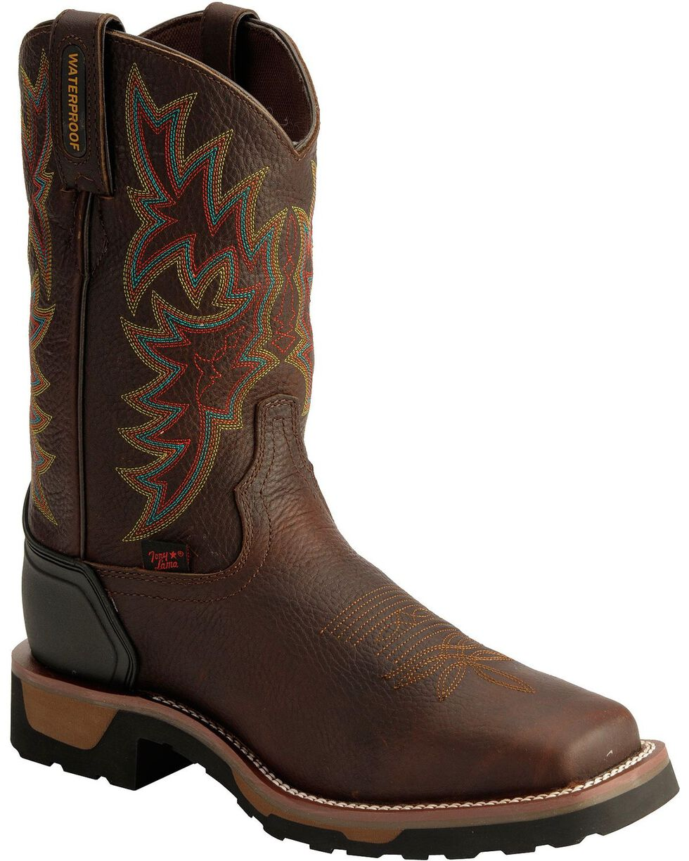Tony Lama Men's TLX Waterproof Western Work Boots, Bark, hi-res