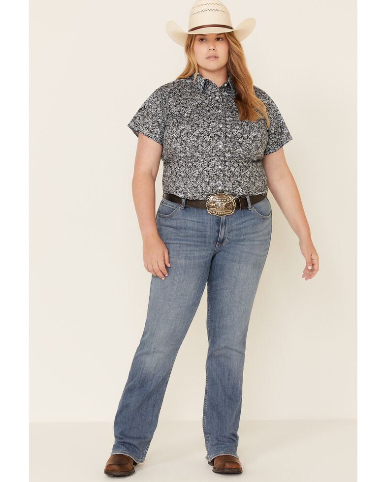 Rough Stock by Panhandle Women's Black Floral Print Short Sleeve Western Shirt - Plus , Black, hi-res