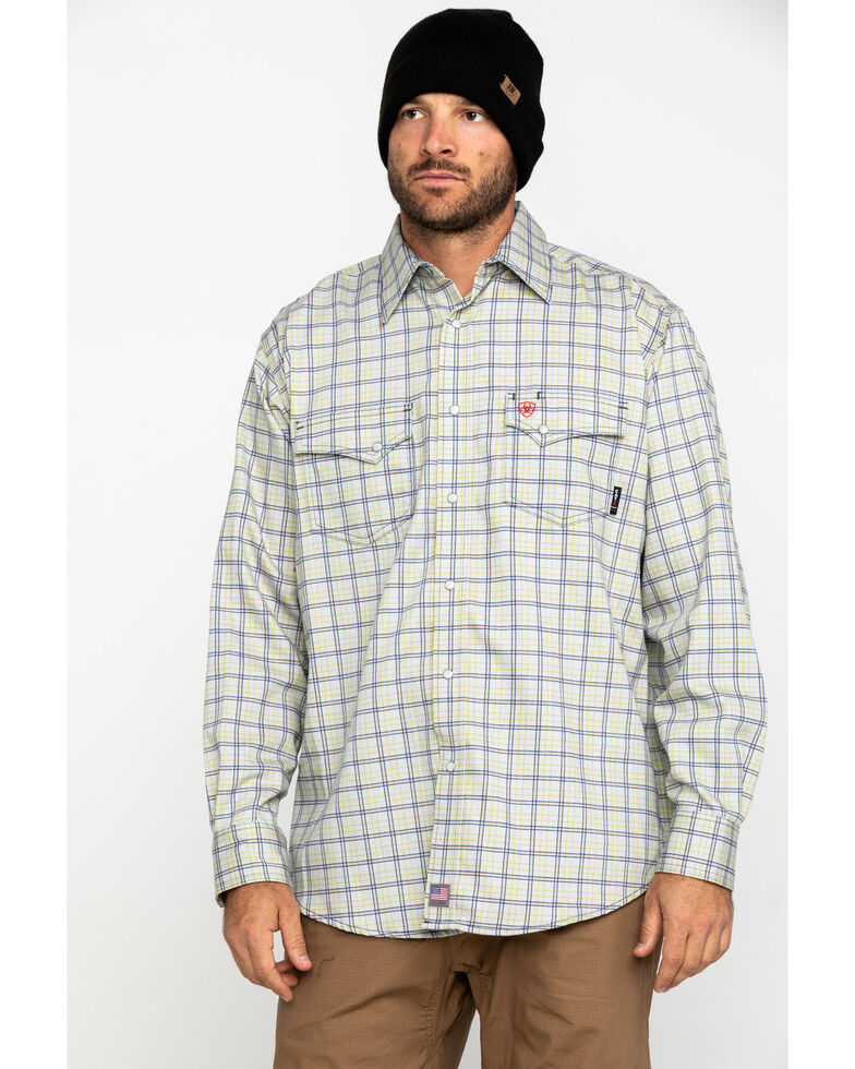 Ariat Men's FR Whitestone Solid Long Sleeve Work Shirt - Big , Blue, hi-res