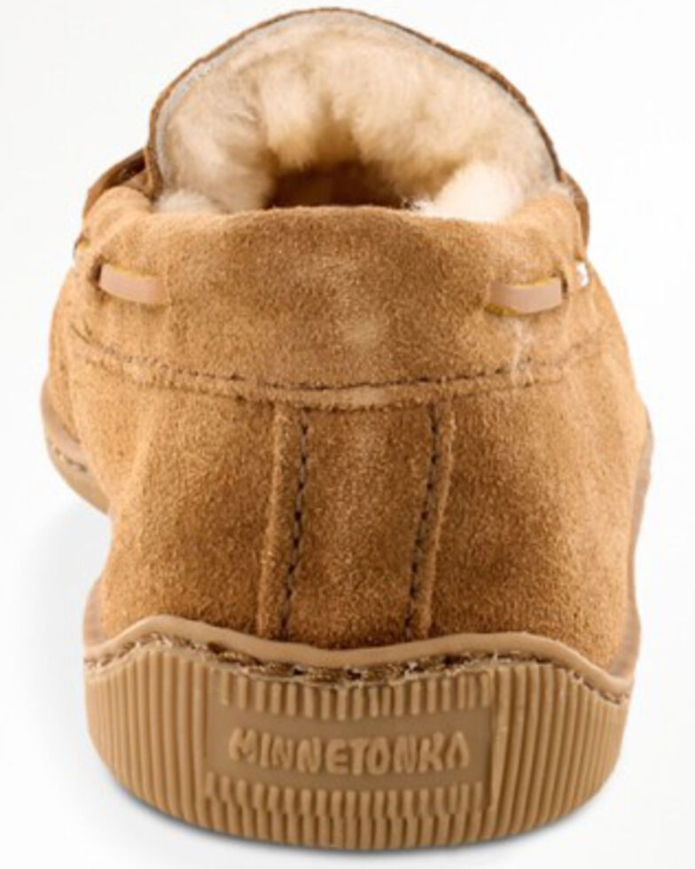 Minnetonka Men's Sheepskin Hardsole Moccasins, Tan, hi-res