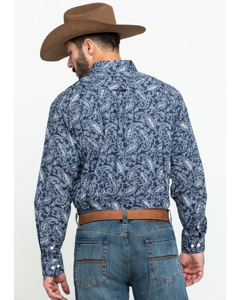 Tuf Cooper Men's Navy Stretch Paisley Print Long Sleeve Western Shirt , Navy, hi-res