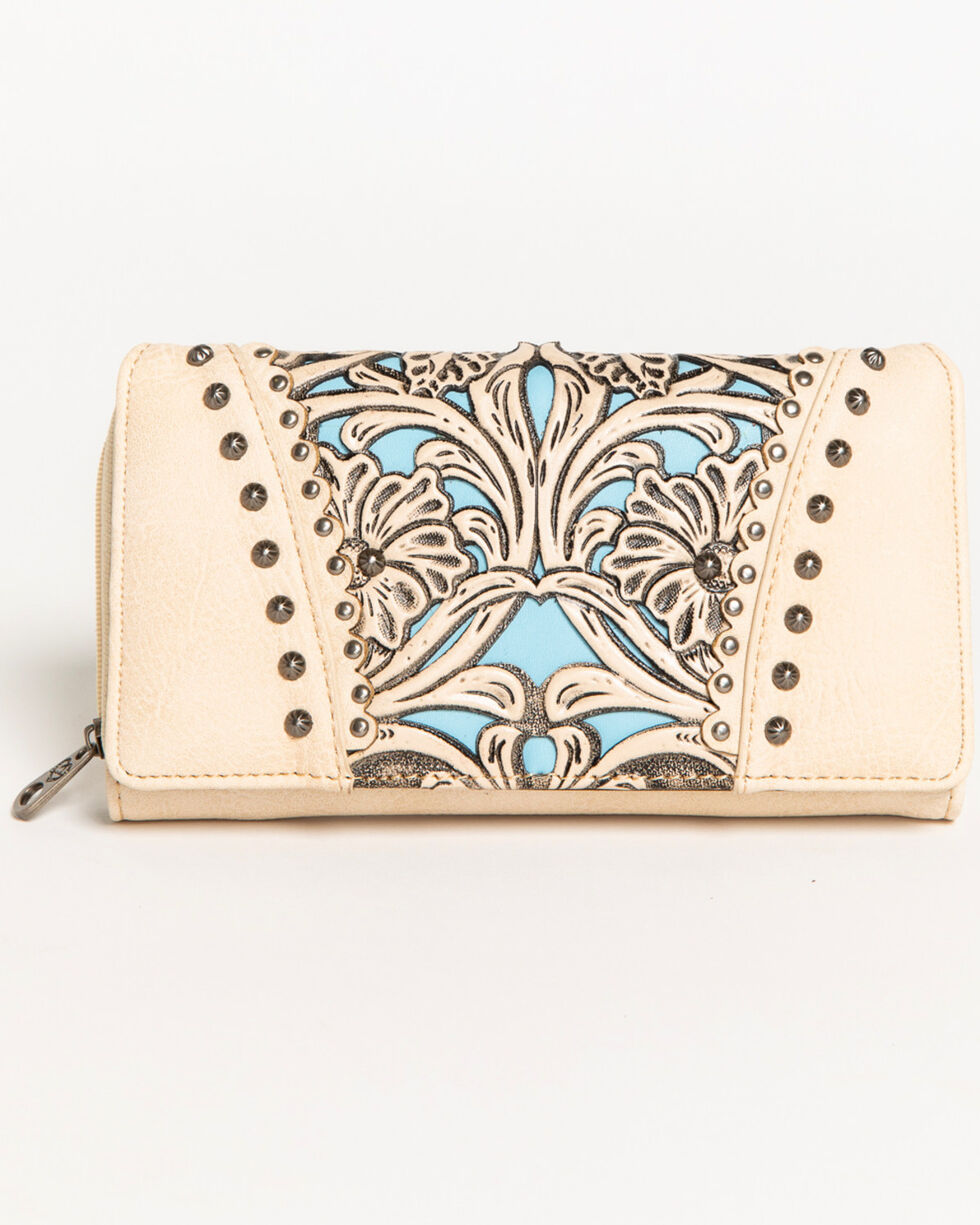 Shyanne Women's Tooled Leather Overlay Wallet, Beige/khaki, hi-res