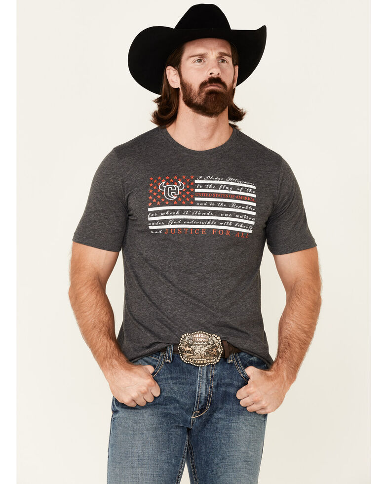 Cowboy Hardware Men's Justice For All Flag Graphic Short Sleeve T-Shirt , Charcoal, hi-res