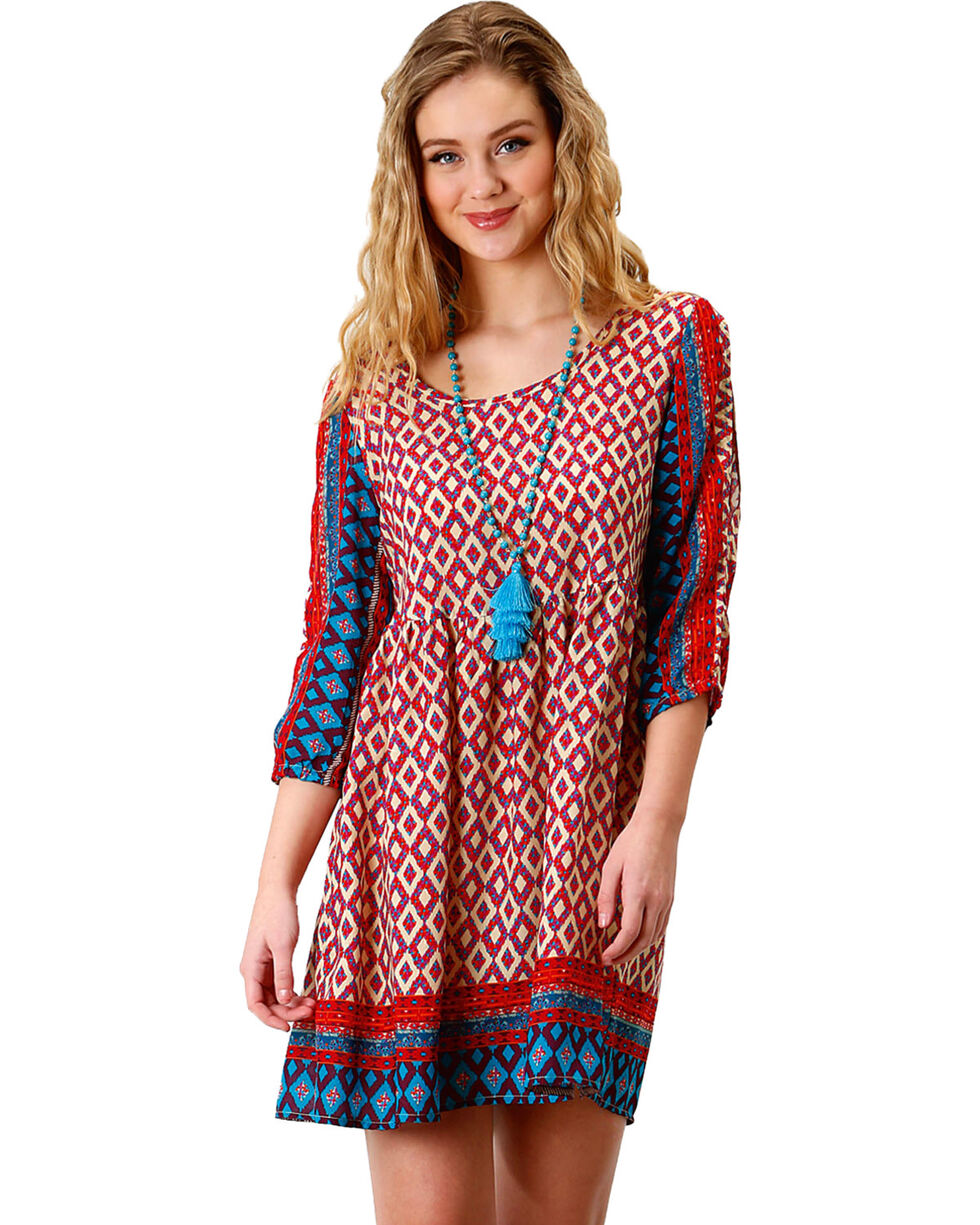Roper Women's Multi Border Print Peasant Dress, Multi, hi-res