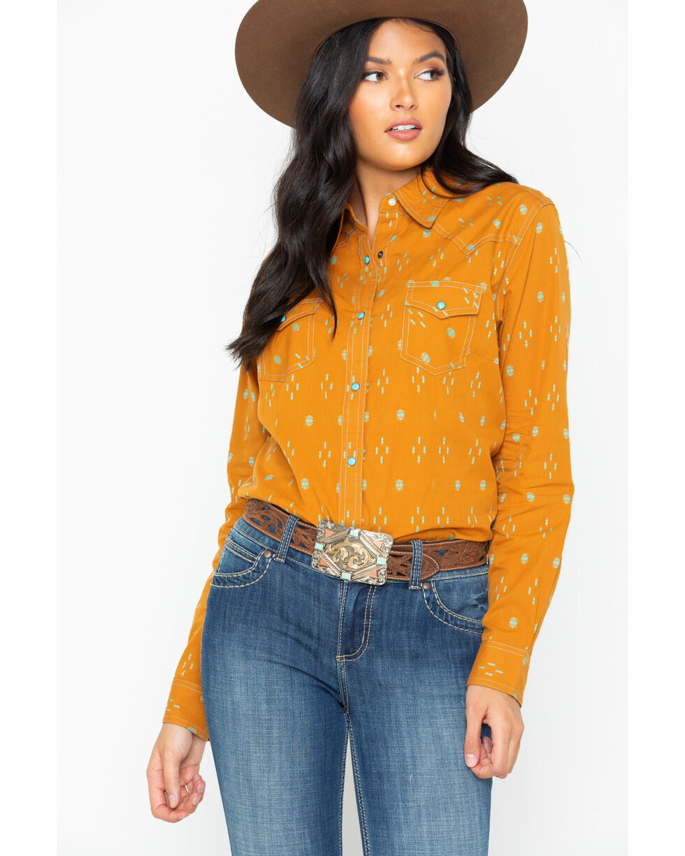 Wrangler Women's Aztec Diamond Print Snap Long Sleeve Western Top, Dark Yellow, hi-res