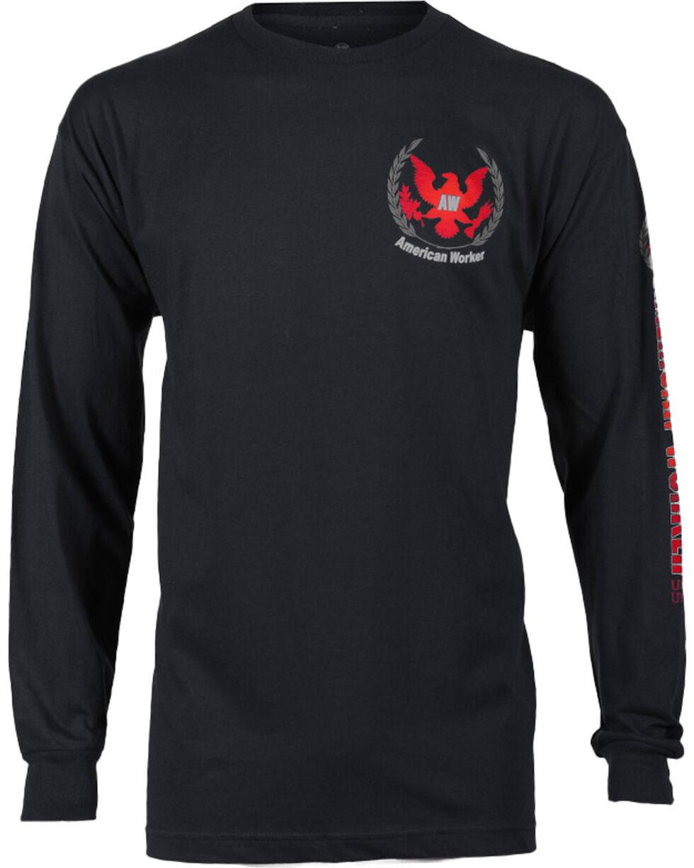 American Worker® Men's Logo Long Sleeve Tee, Black, hi-res