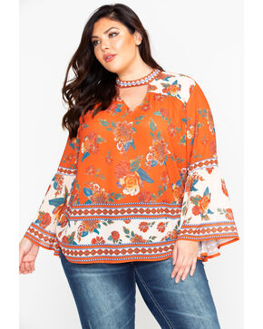 Flying Tomato Women's Floral Border Bell Sleeve Choker Top - Plus, Rust Copper, hi-res