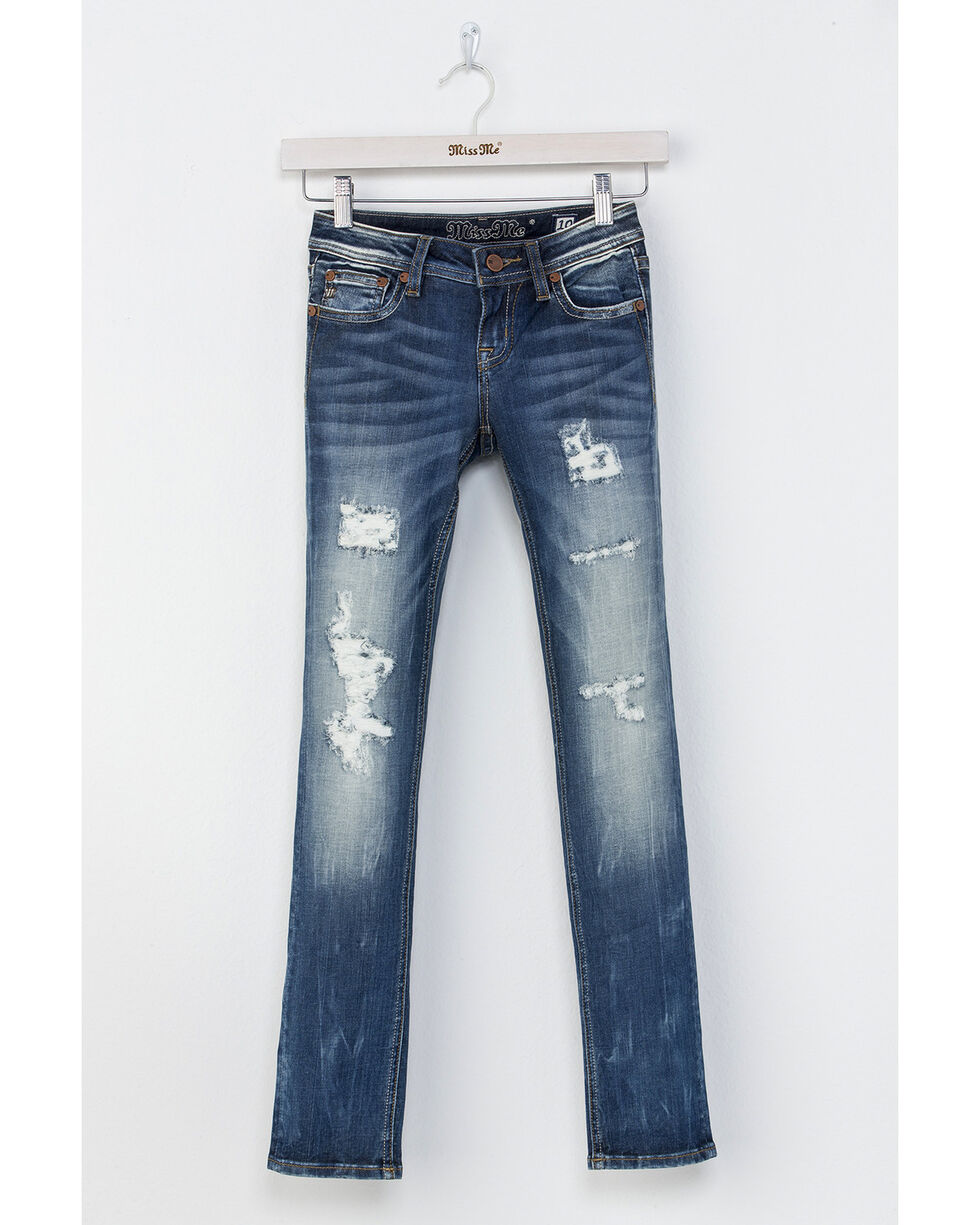 Miss Me Girls' Distress Call Skinny Jeans, Indigo, hi-res