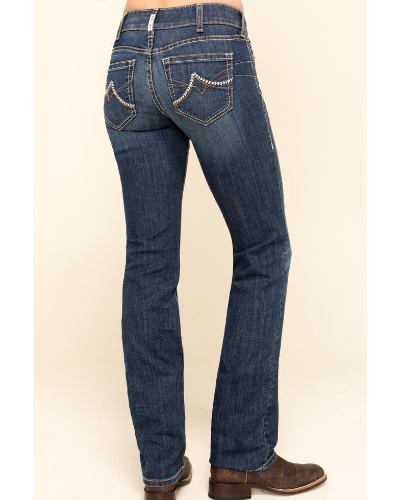 Ariat Women's R.E.A.L Dark Wash Brianne Straight Jeans , Blue, hi-res
