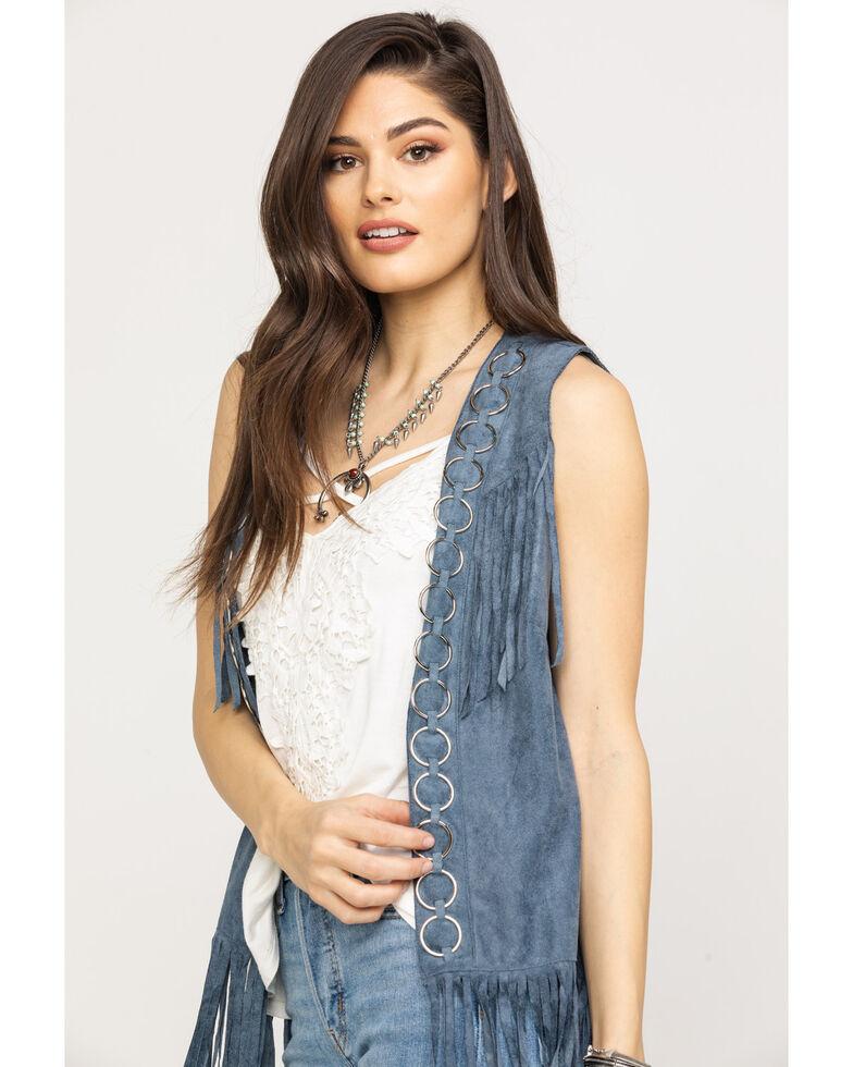 Vocal Women's Metal Ring Fringe Vest, Blue, hi-res