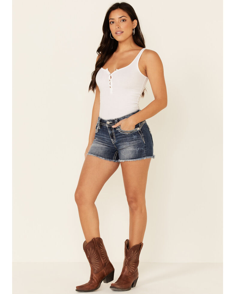 Miss Me Women's Frayed X-Shaped Short Shorts, Blue, hi-res