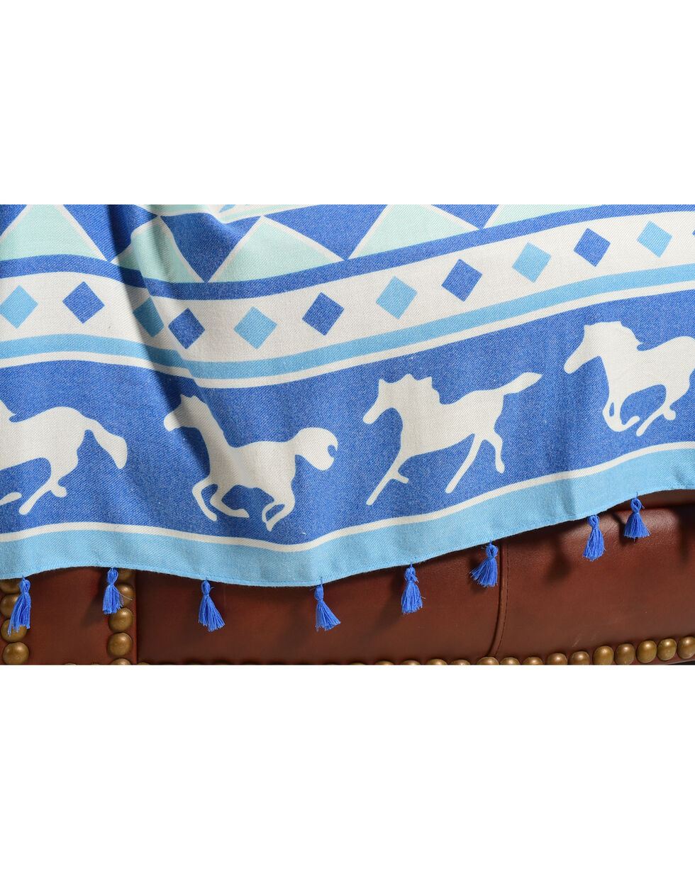 BB Ranch Arrow and Horses Tassel Trimmed Throw Blanket, No Color, hi-res