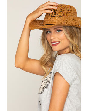 Shyanne® Girls' Brakley Straw Hat, Brown, hi-res