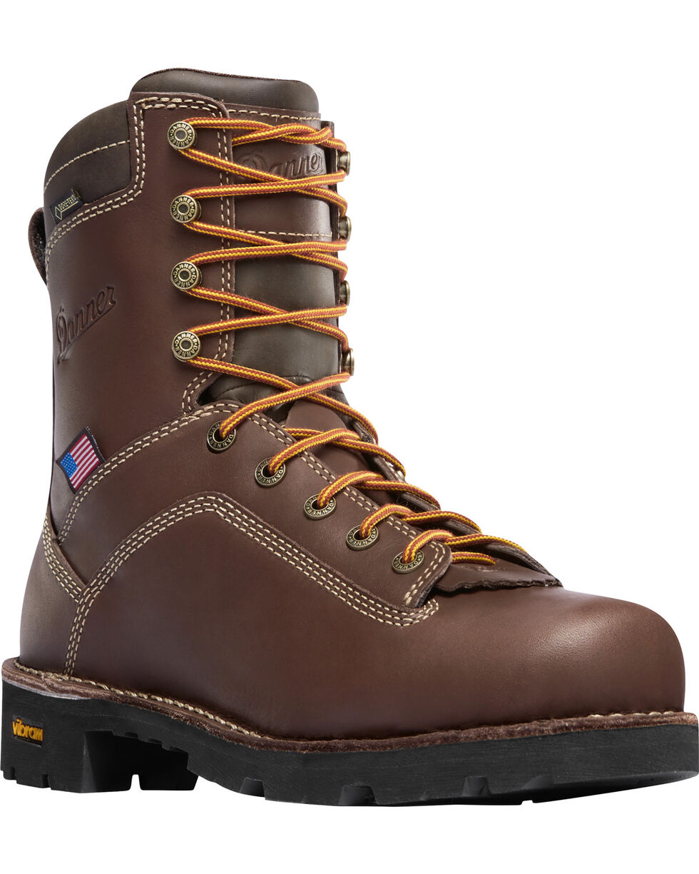 "Danner Men's Brown Quarry USA 8"" Work Boots - Alloy Toe , Brown, hi-res"