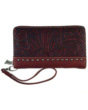 Montana West Trinity Ranch Tooled Design Wallet, Red, hi-res