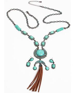 Shyanne Women's Patina Crescent Tassel Necklace Set, Turquoise, hi-res