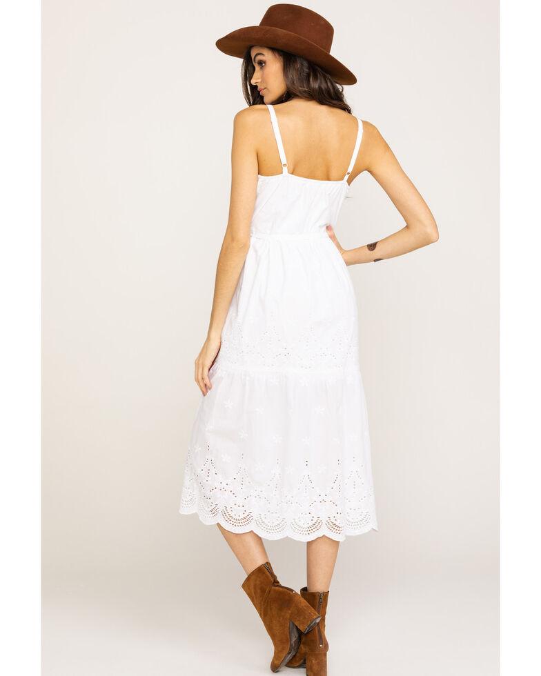 Wrangler Women's White Eyelet Button Down Midi Dress , White, hi-res