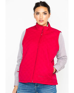 Berne Women's Nylon Quilted Trek Work Vest, Red, hi-res