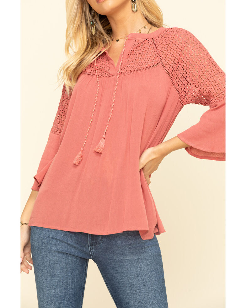 Wrangler Women's Rose Crochet Peasant Top , Pink, hi-res