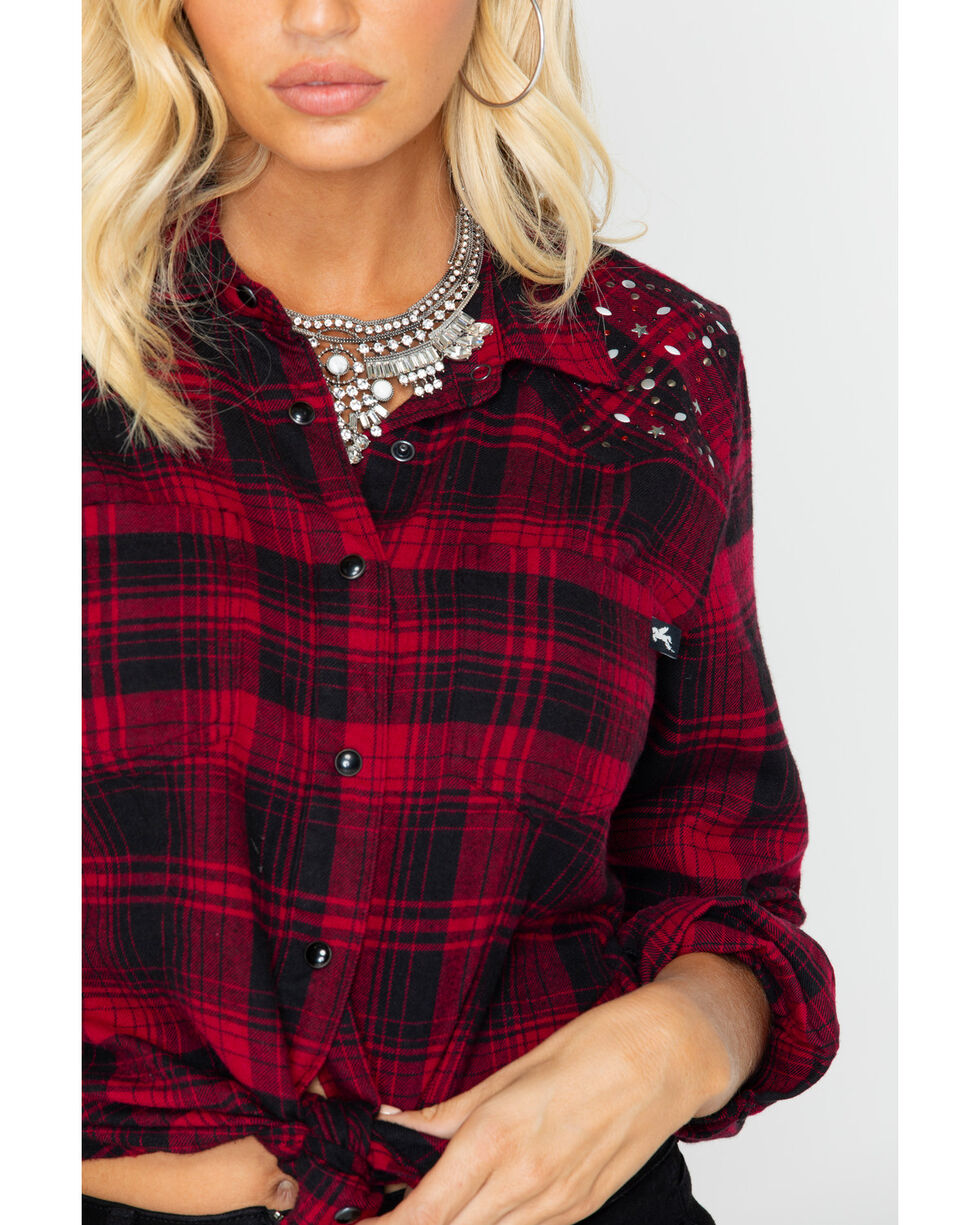 Idyllwind Women's Glitter & Grit Western Flannel Top , Black/red, hi-res
