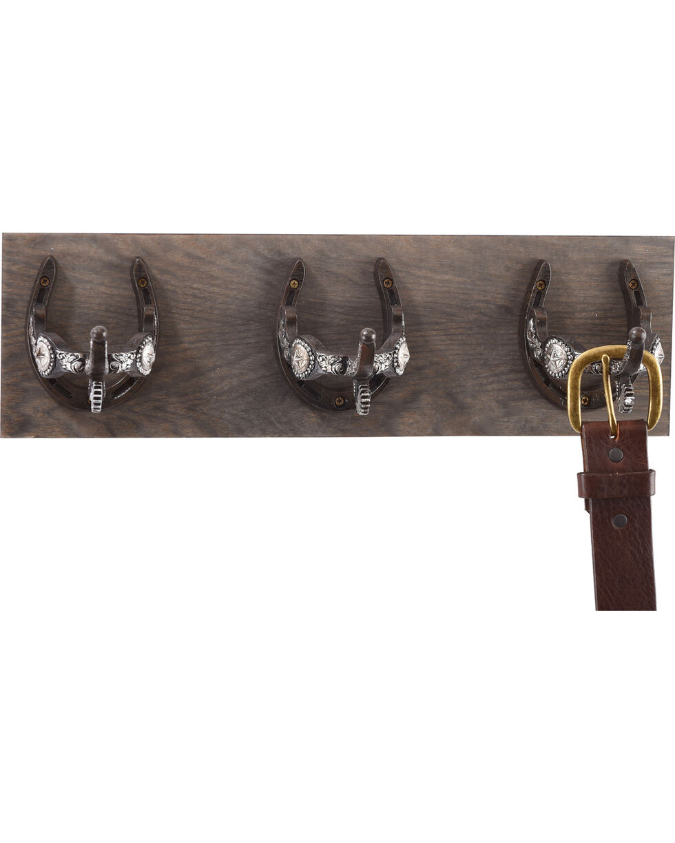 BB Ranch 3-Hook Horseshoe Wall Mount, Brown, hi-res