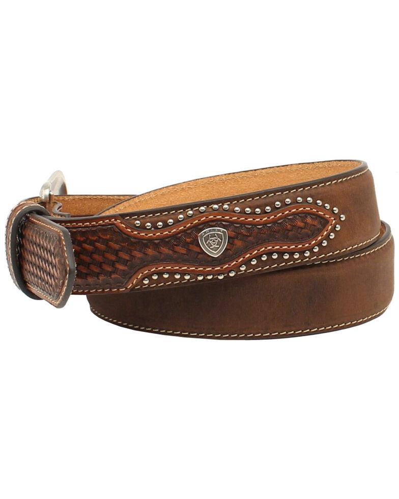 Ariat Men's Basketweave Embellished Leather Belt, Aged Bark, hi-res