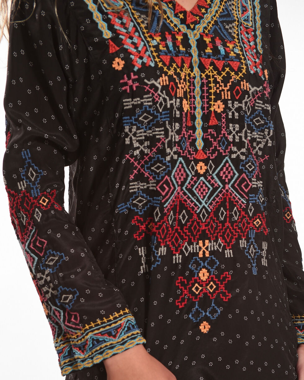 Johnny Was Women's Black Lueta Silk Blouse , Black, hi-res