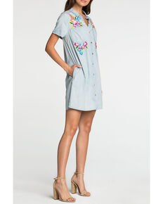 Miss Me Women's Light Blue Floral Embroidered Shirt Dress, Light Blue, hi-res