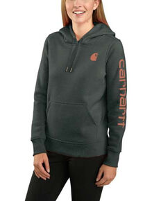 Carhartt Women's Green Heather Clarksburg Sleeve Logo Hooded Sweatshirt , Green, hi-res