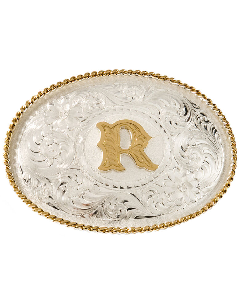 Montana Silversmiths Initial R Western Buckle, Silver, hi-res