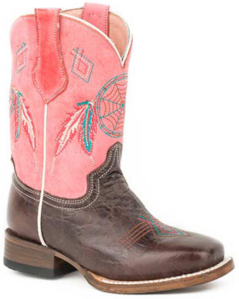 Roper Girls' Little Dreams Western Boots - Square Toe, Brown, hi-res
